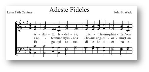 Adeste fideles laeti triumphantes Venite, venite in Bethlehem Natum videte, Regem angelorum Venite adoremus, venite adoremus Venite adoremus Dominum.