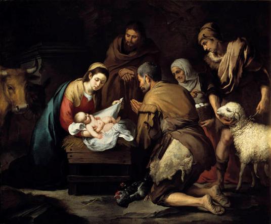 """Este año escojo este cuadro de Murillo de """"La adoración de los pastores"""" para ilustrar el post navideño. Me gusta por su sobriedad… sin ángeles, ni reyes… sólo los pastores viejos y barbudos, descalzos y humildes, adorando al niño…"""