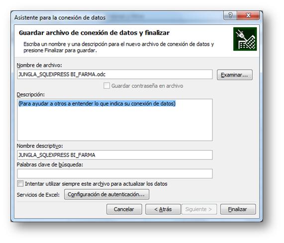 El resultado de guarda en un archivo ODC que se puede reutilizar.