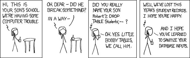 Tira cómica sobre los riesgos de la inyección SQL...