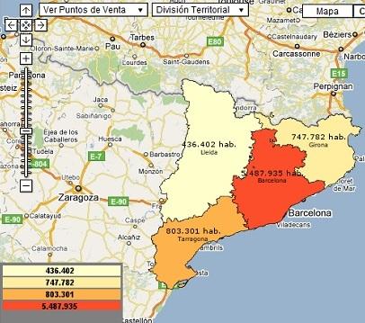 Cuadro de mando territorial sobre la población de Cataluña por Provincias (con Tuent)
