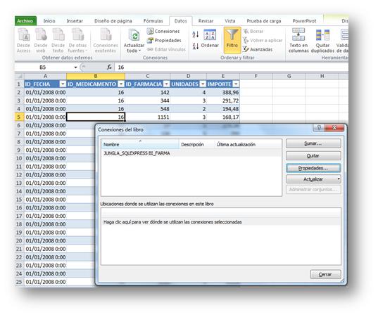 Esta ventana se añadió en Excel 2007, y permite administrar las conexiones de modo centralizado.
