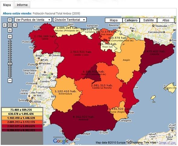 cuadro de mando territorial sobre la población de España (con Tuent)