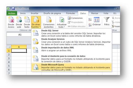 Las opciones que muestra Excel 2012 para importar datos. Está Microsoft query, of course.
