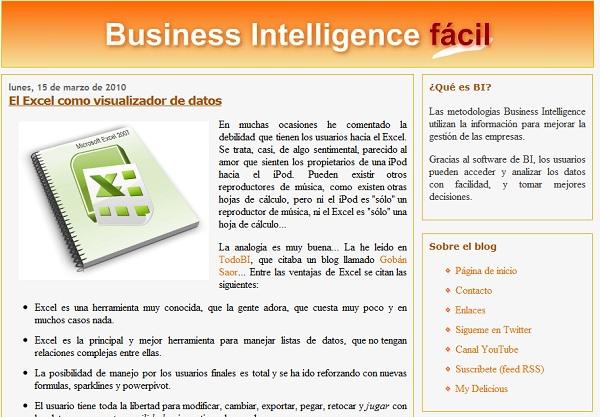 Pantallazo de Business Intelligence fácil con el antiguo diseño