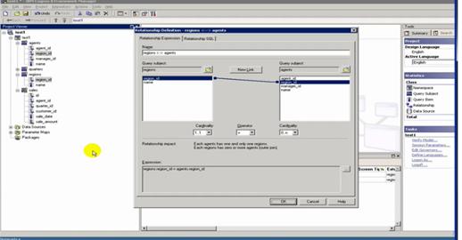 Imagen del Framework Manager de Cognos