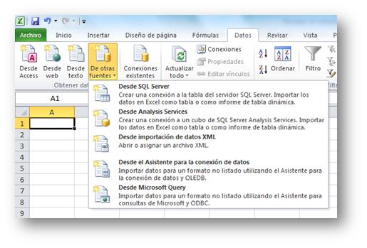 Imporar datos desde otras fuentes en Microsoft Excel