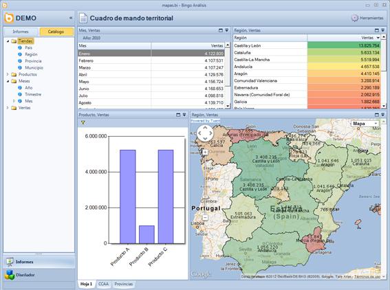 Informe muy sencillo que muestra una tabla con una alerta semafórica, un gráfico y un mapa.