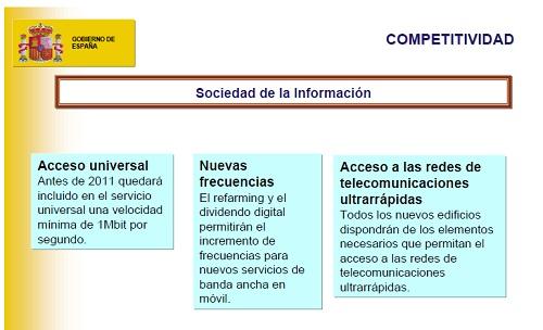 Diagrama resumen sobre las propuestas referentes a la sociedad de la información (en la ley de economía sostenible).